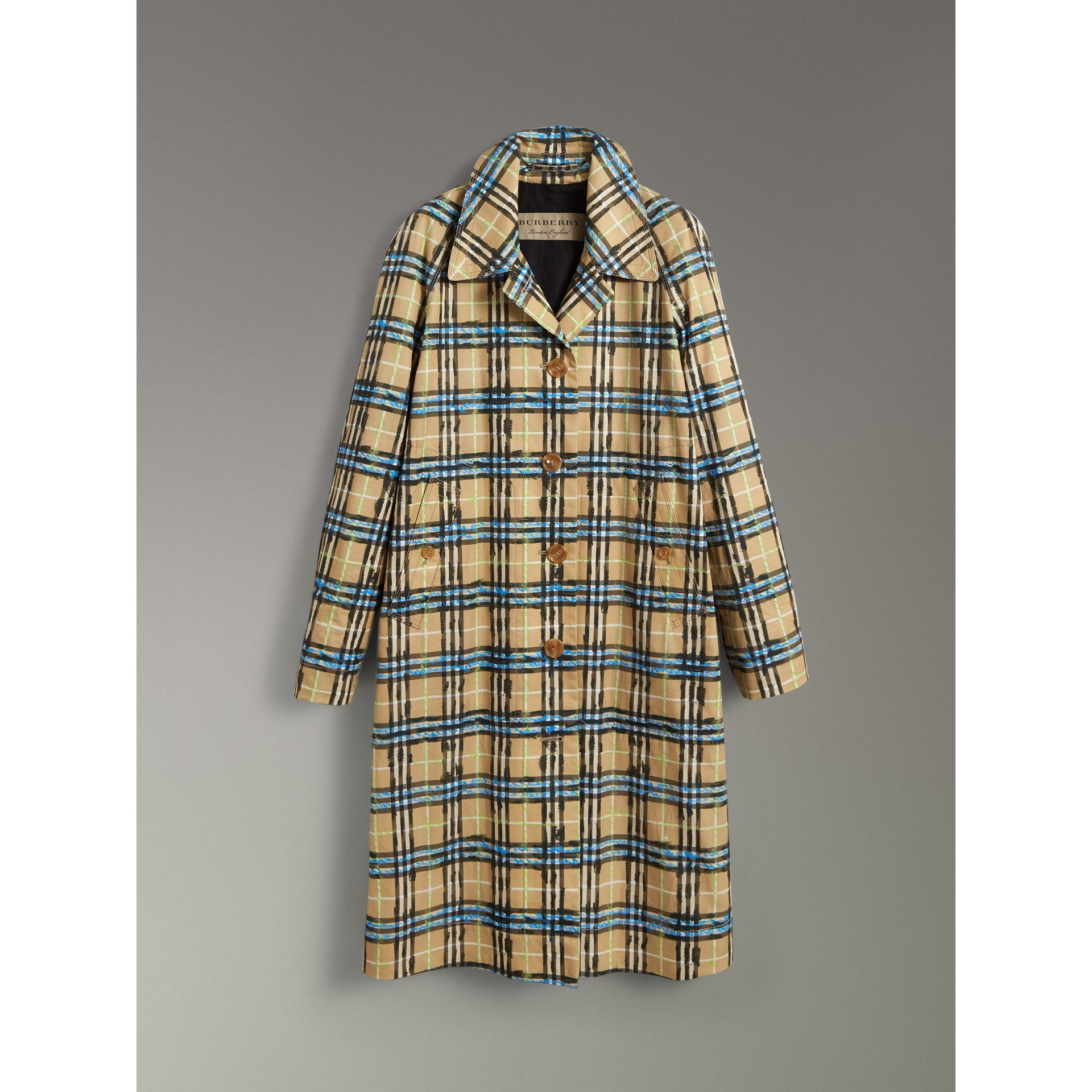 Scribble Check Cotton Gabardine Car Coat in Bright Blue - Women | Burberry - gallery image 3