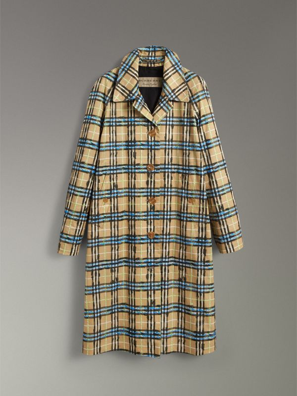 Scribble Check Cotton Gabardine Car Coat in Bright Blue - Women | Burberry - cell image 3