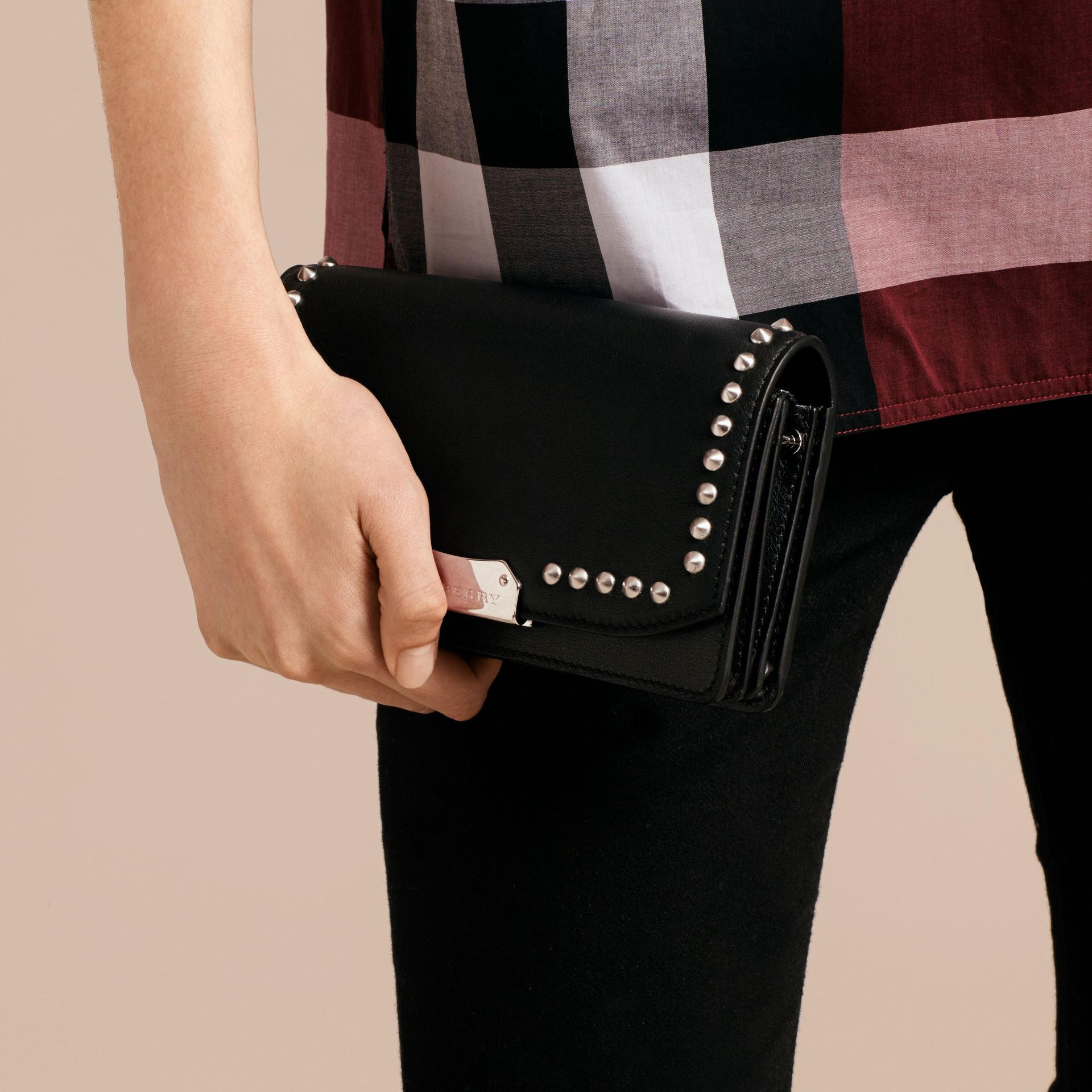 Black Studded Leather Clutch Bag with Chain - gallery image 4