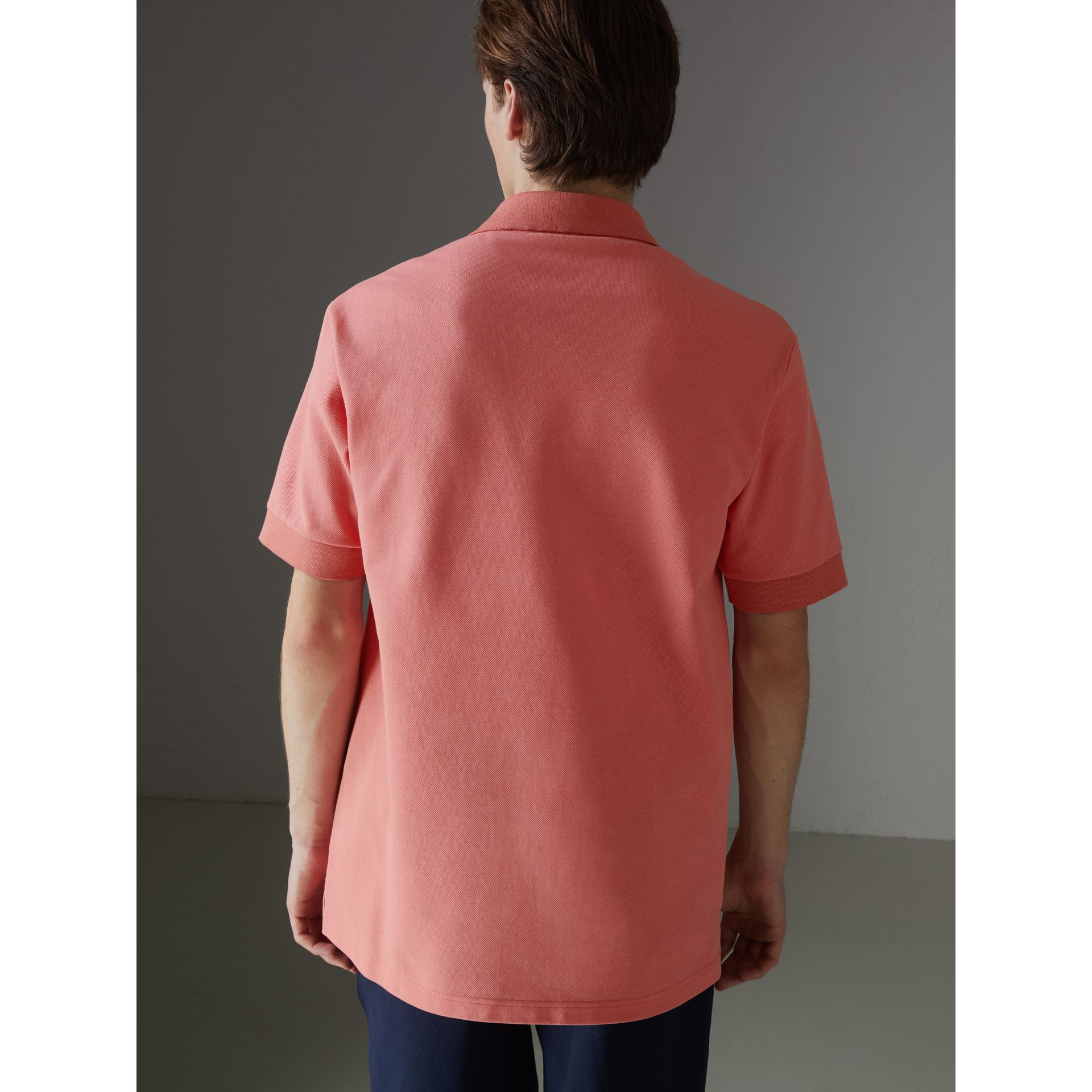 Reissued Cotton Polo Shirt in Coral - Men | Burberry United Kingdom - gallery image 2