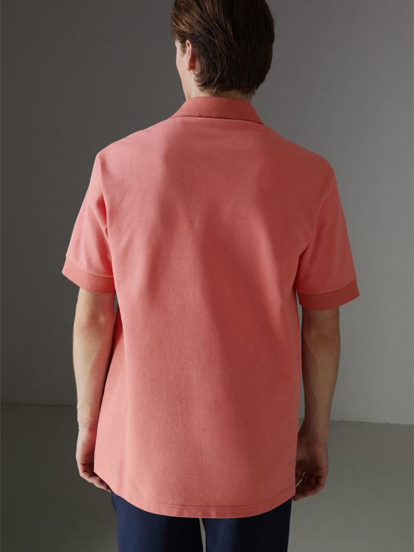 Reissued Cotton Polo Shirt in Coral - Men | Burberry United Kingdom - cell image 2