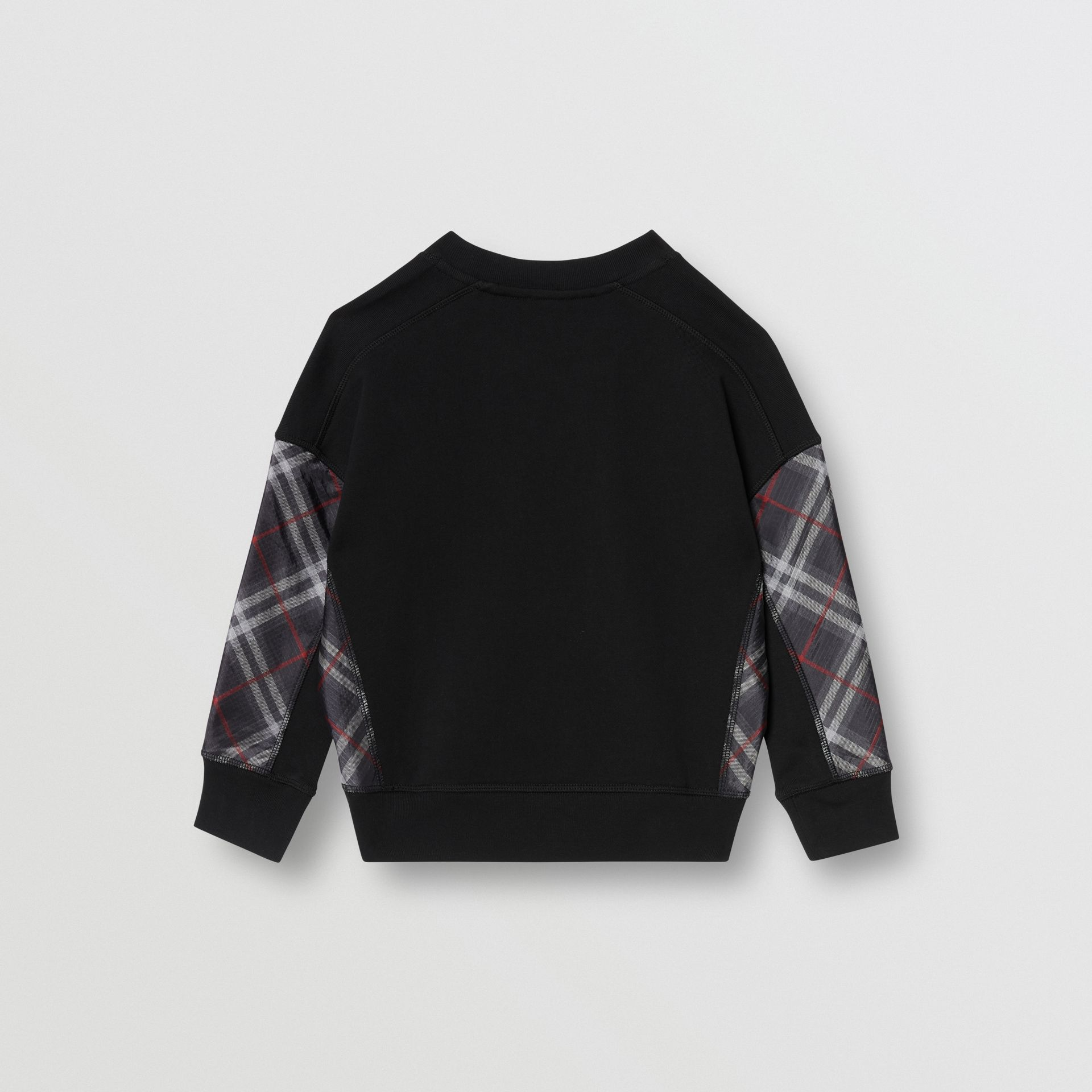 Vintage Check Panel Cotton Sweatshirt in Black | Burberry Australia - gallery image 2