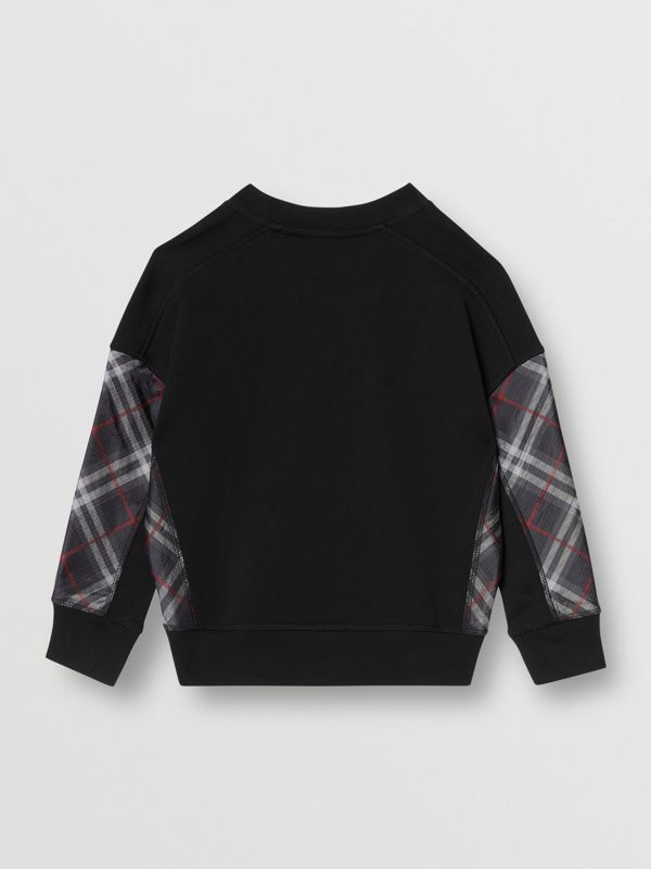 Vintage Check Panel Cotton Sweatshirt in Black | Burberry Australia - cell image 2