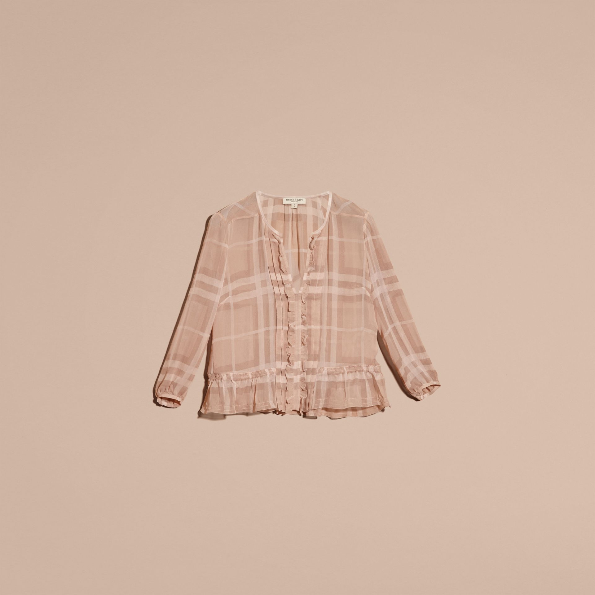 Nude Tonal Check Ruffle Detail Silk Crepon Top Nude - gallery image 4