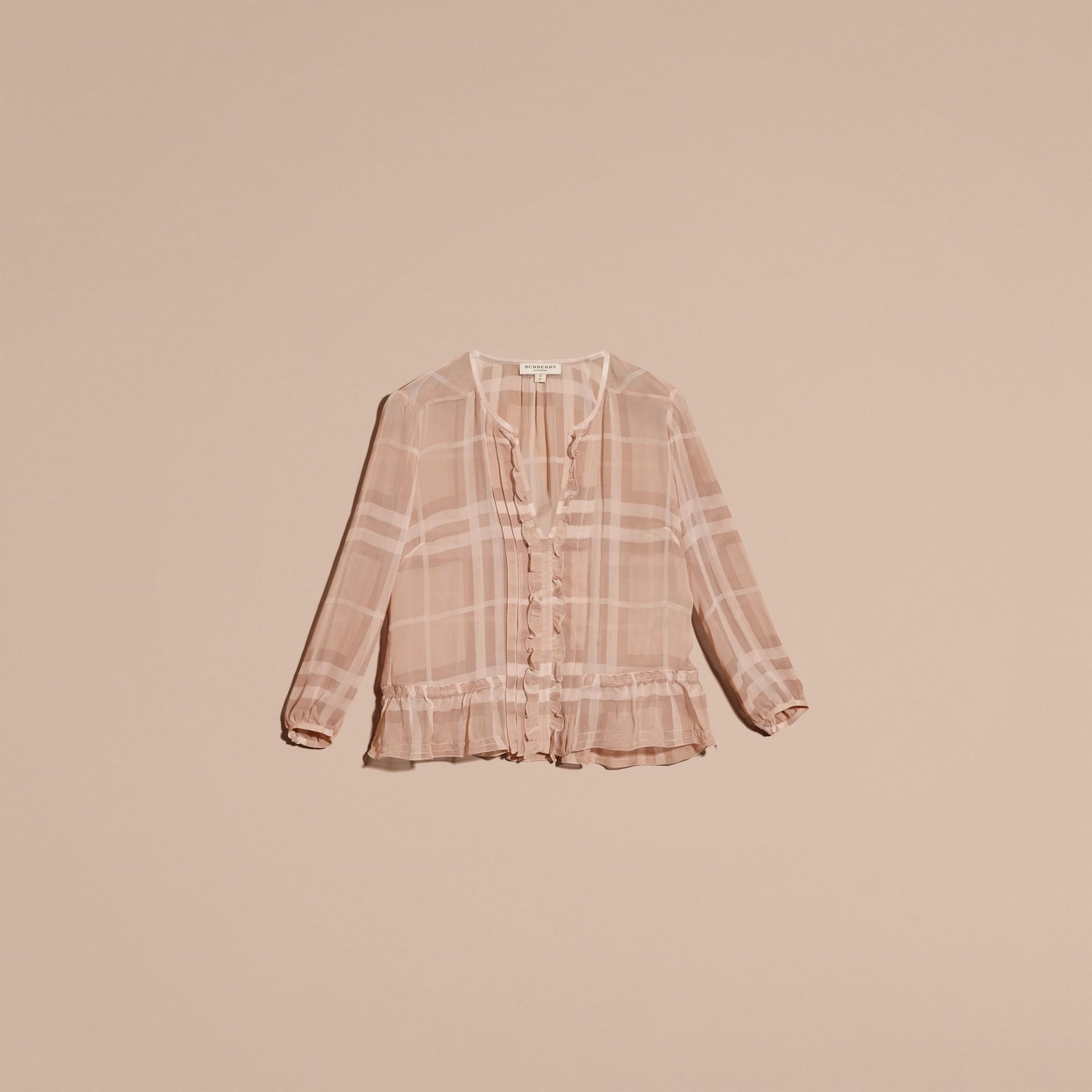 Nude Blusa de crepe de seda com estampa xadrez contrastante e detalhe franzido Nude - galeria de imagens 4