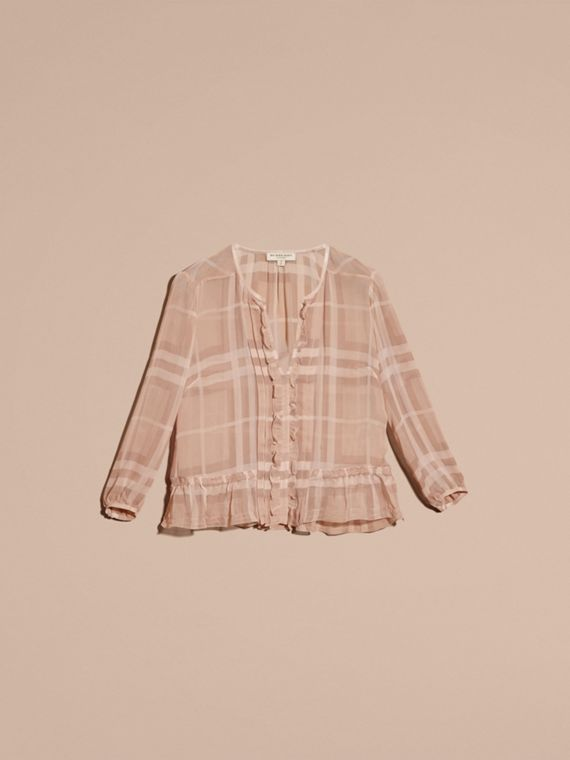 Tonal Check Ruffle Detail Silk Crepon Top Nude - cell image 3