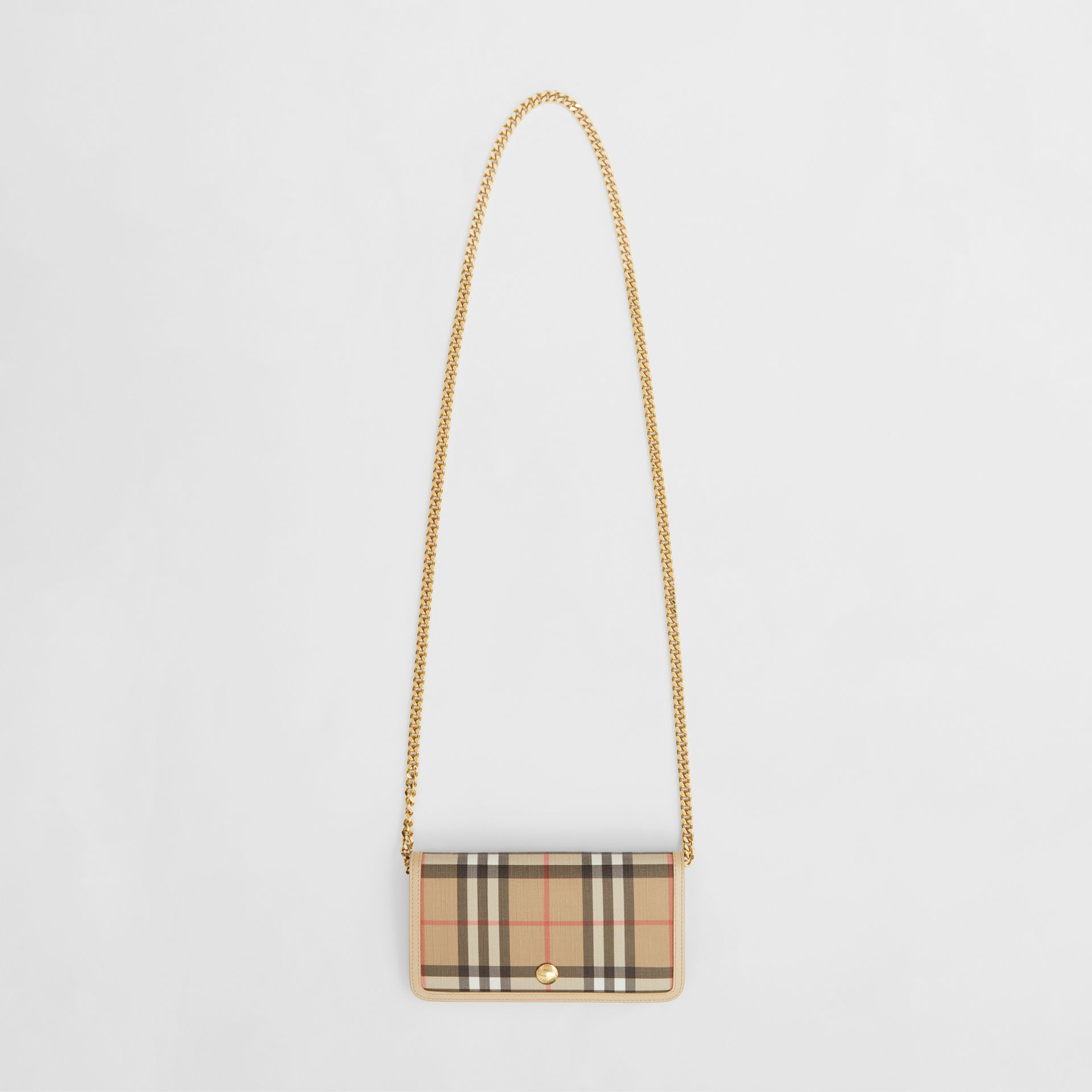 Vintage Check E-canvas Phone Wallet with Strap in Beige - Women | Burberry - gallery image 2