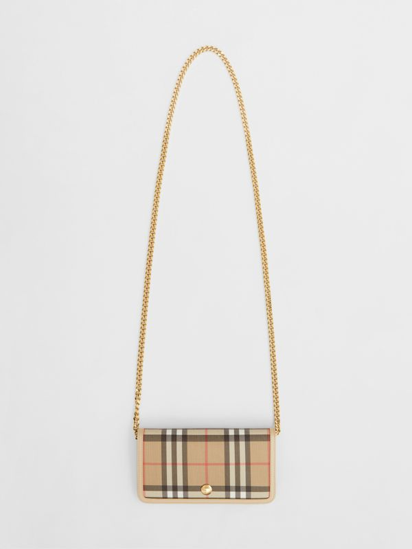 Vintage Check E-canvas Phone Wallet with Strap in Beige - Women | Burberry - cell image 2