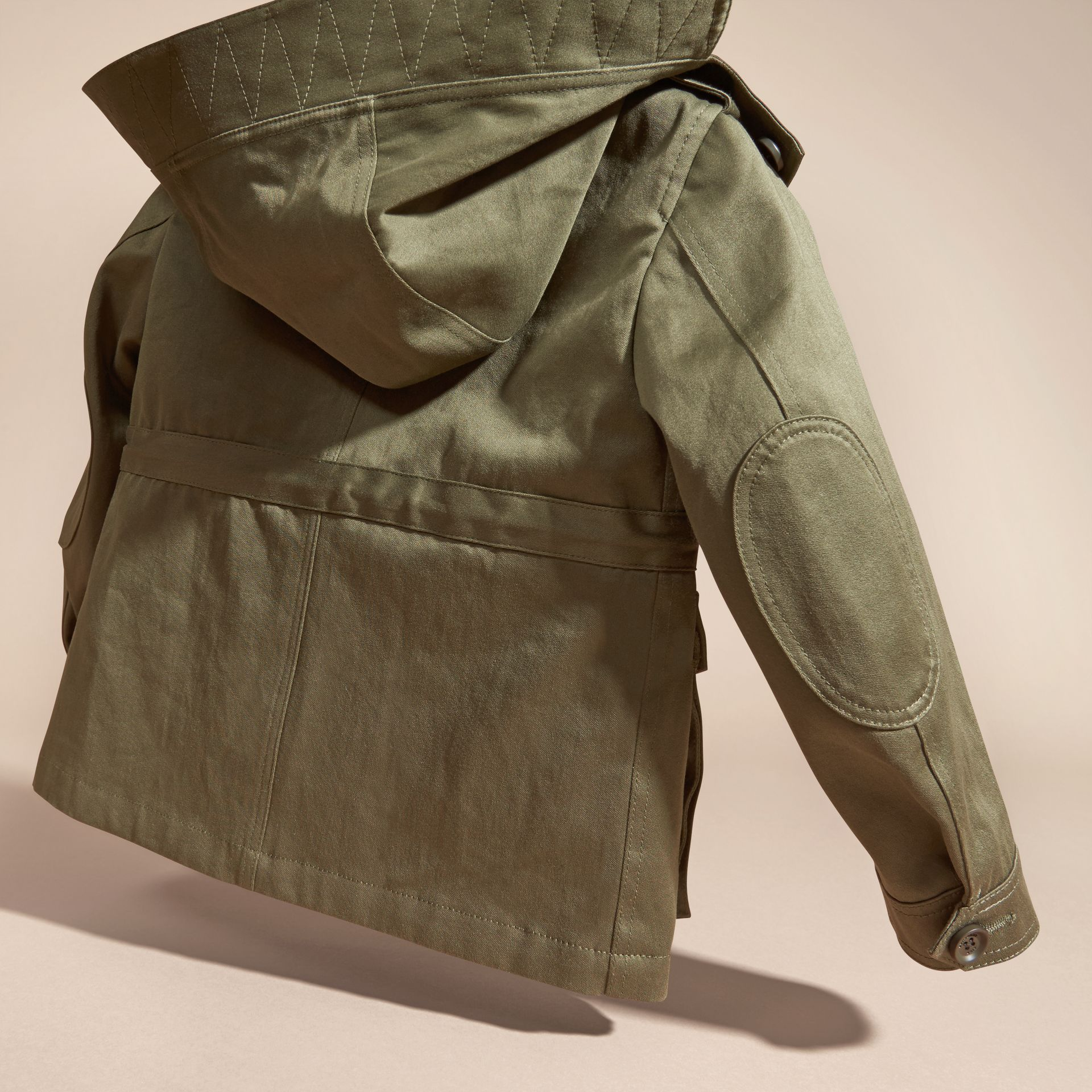 Olive Cotton Field Jacket with Check Warmer - gallery image 4