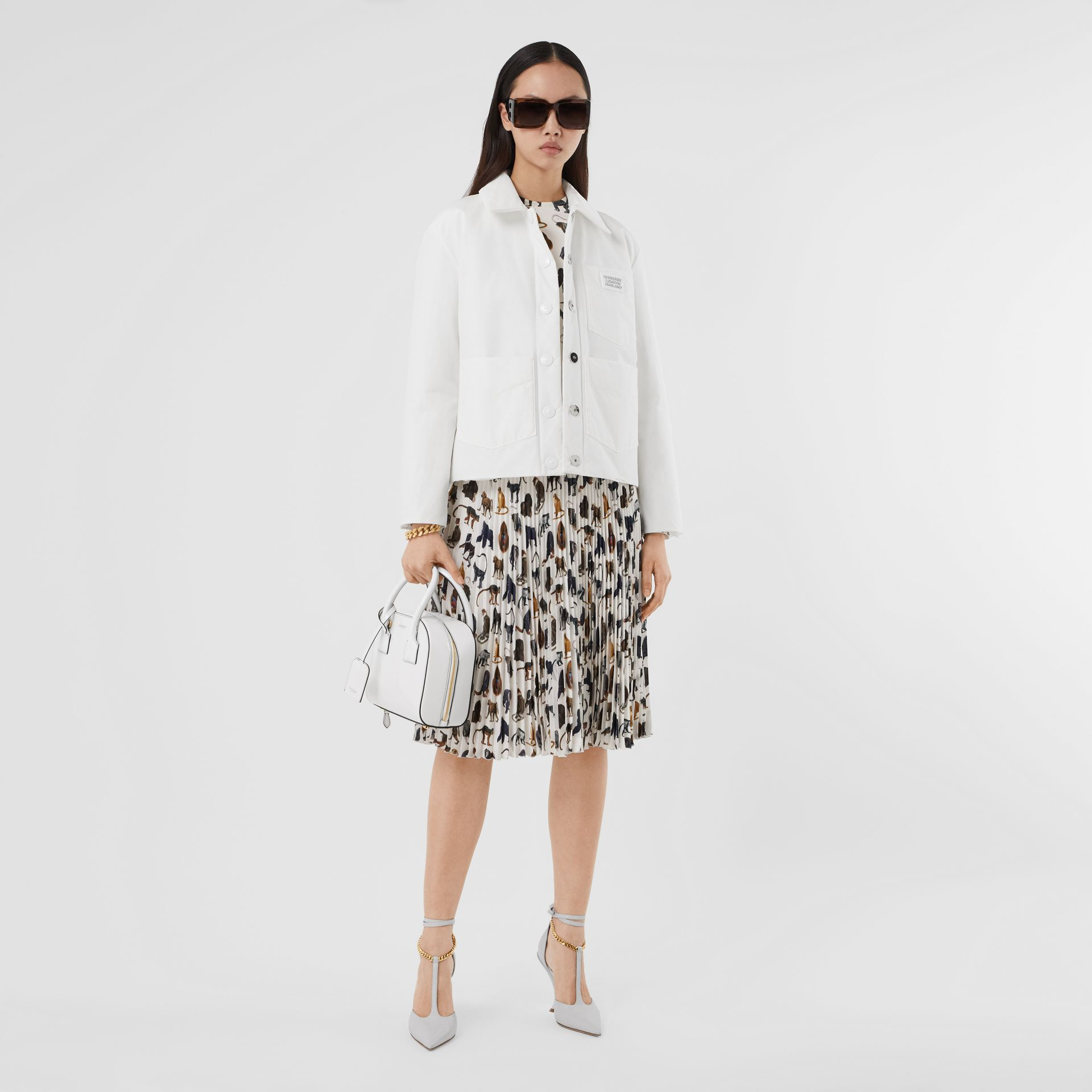 Logo Appliqué Cotton Blend Jacket in White | Burberry United Kingdom - gallery image 0