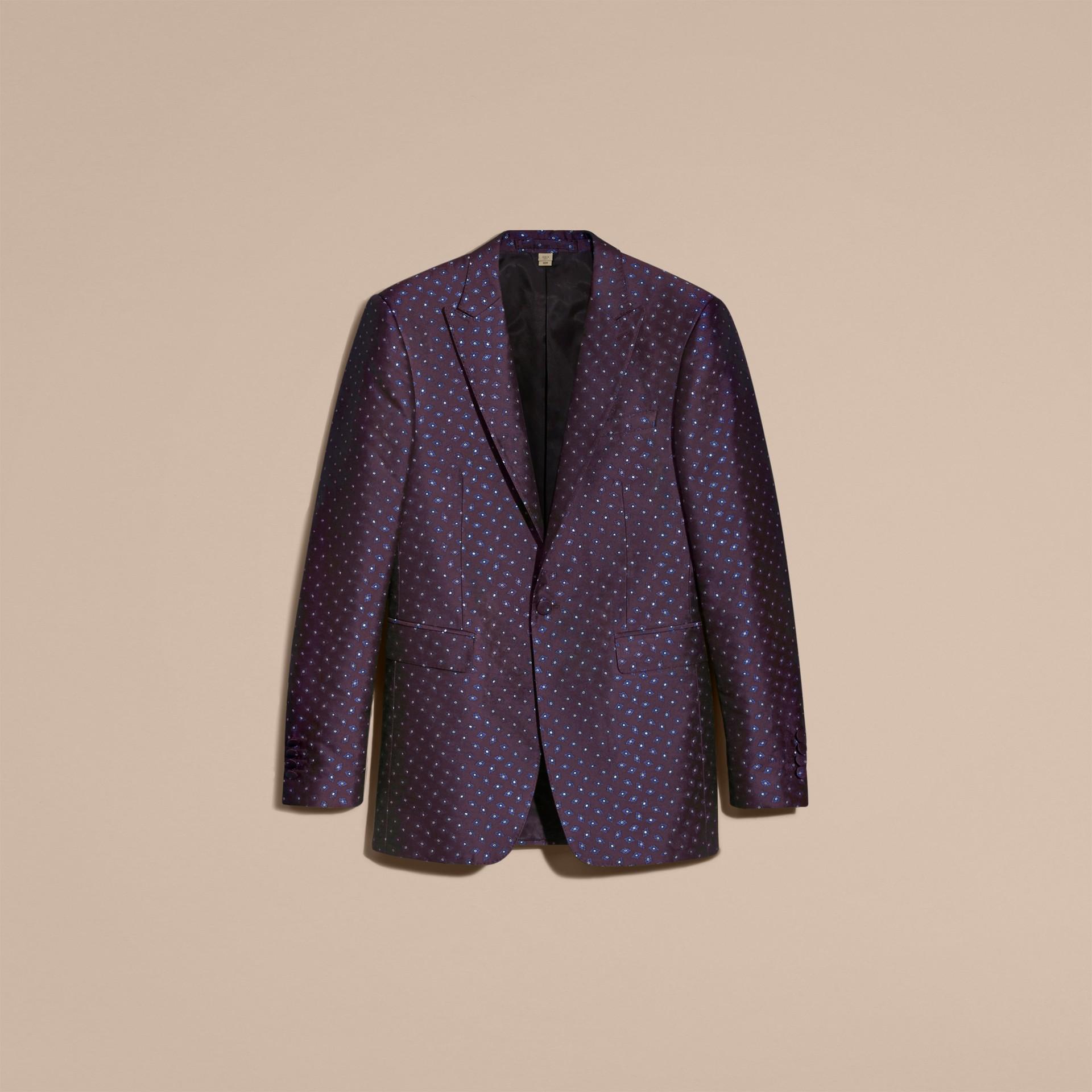 Berenjena oscuro Chaqueta de vestir entallada en jacquard de seda con motivo geométrico - imagen de la galería 4