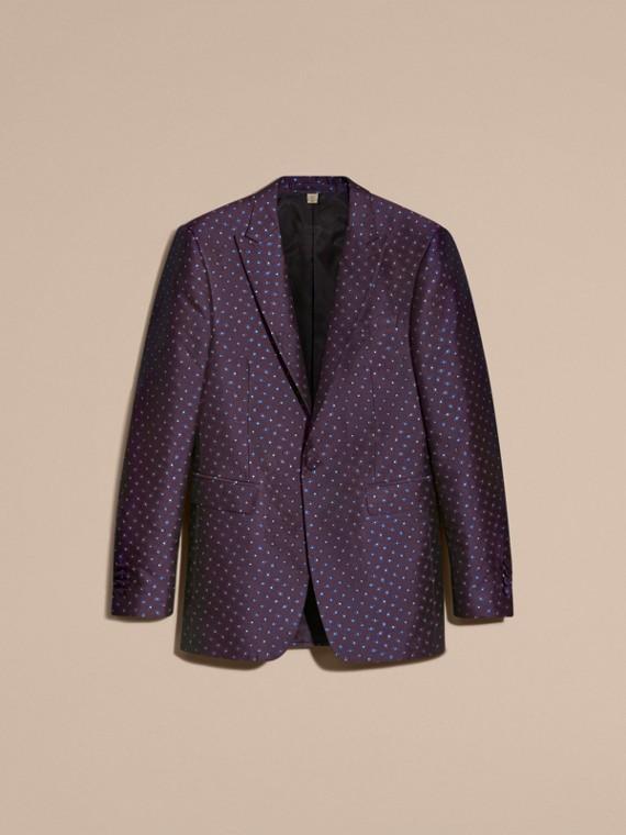 Berenjena oscuro Chaqueta de vestir entallada en jacquard de seda con motivo geométrico - cell image 3