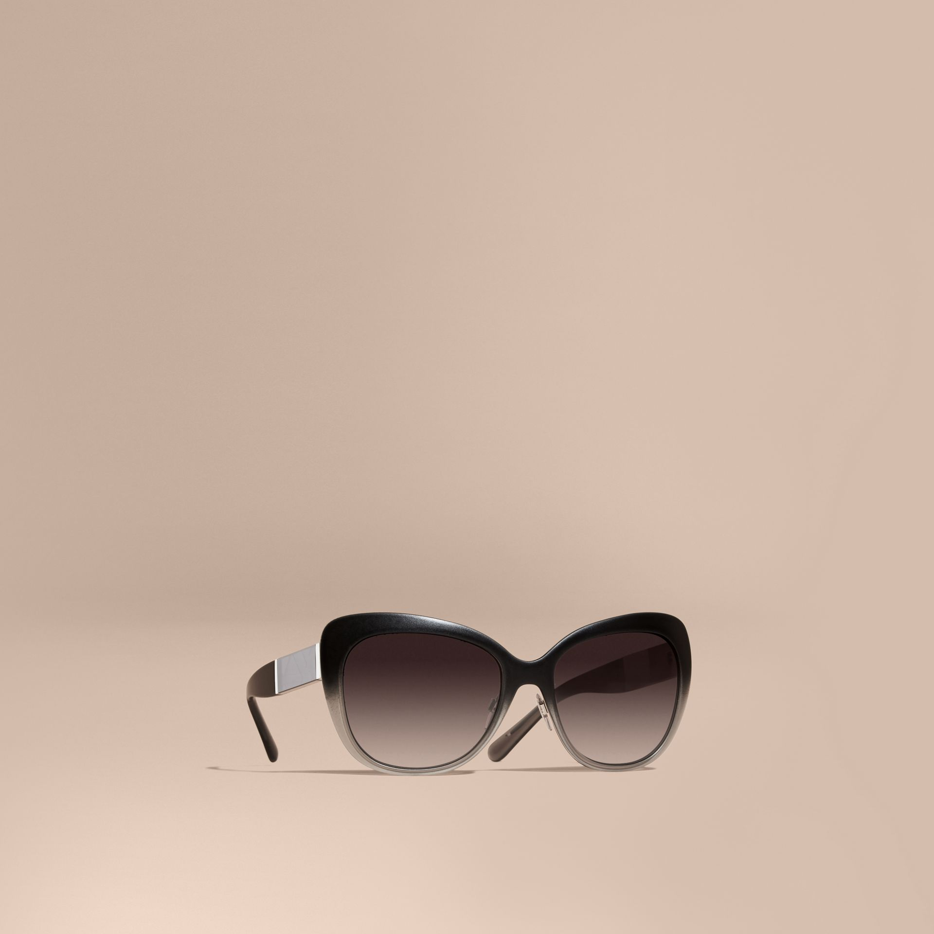 Black Check Detail Square Cat-eye Sunglasses Black - gallery image 1