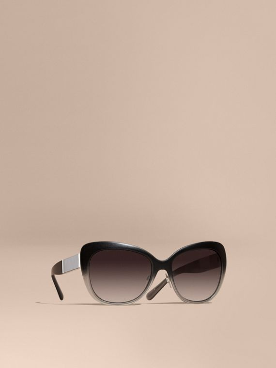Check Detail Square Cat-eye Sunglasses Black