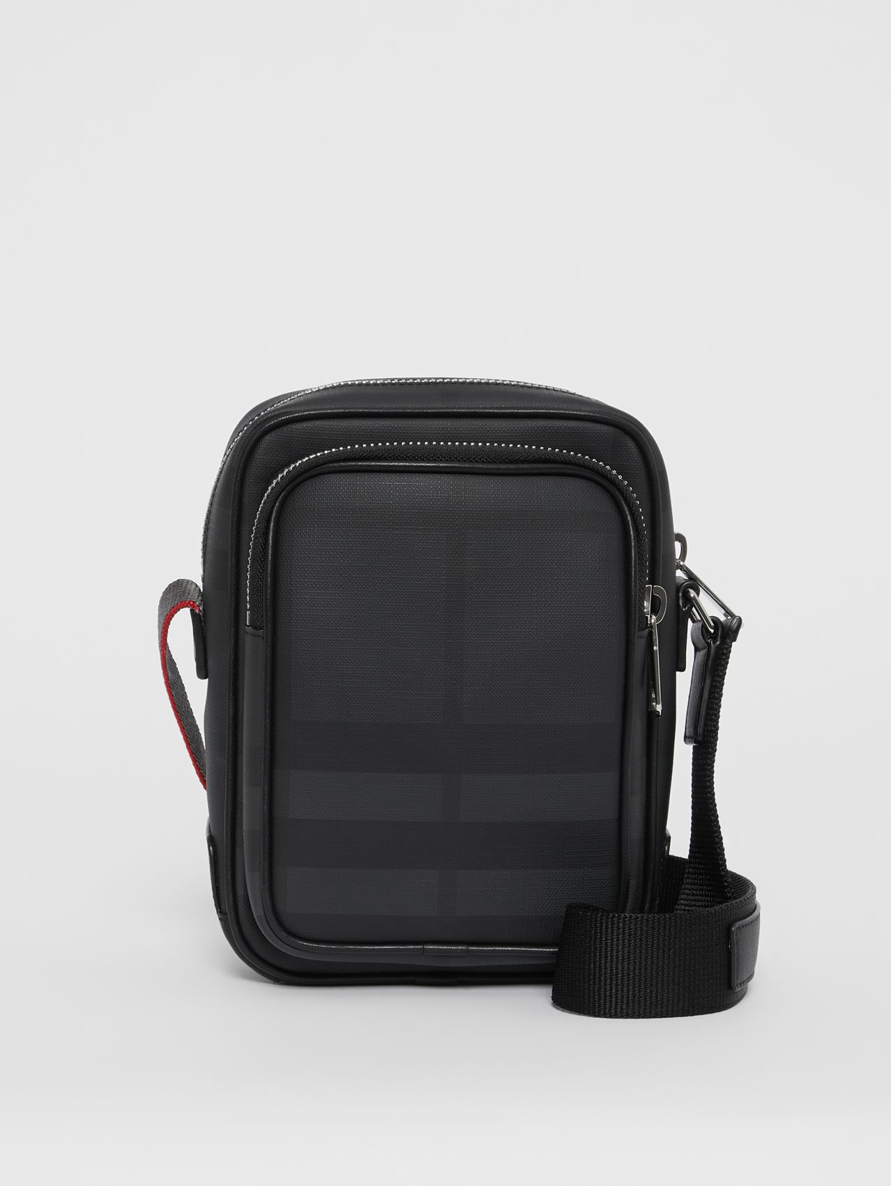 London Check and Leather Crossbody Bag in Dark Charcoal