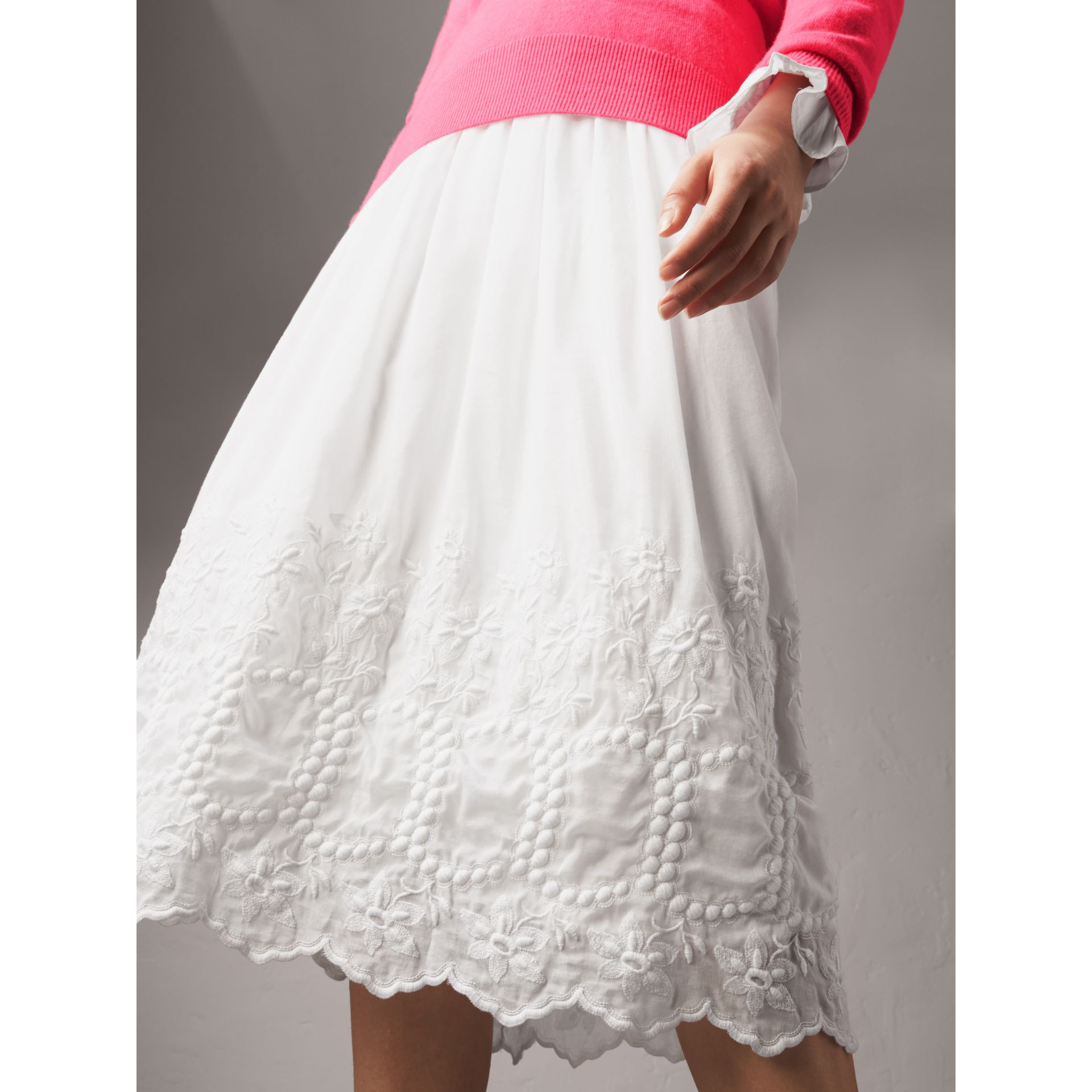 Embroidered Cotton Silk Voile Skirt in White - Women | Burberry - gallery image 1