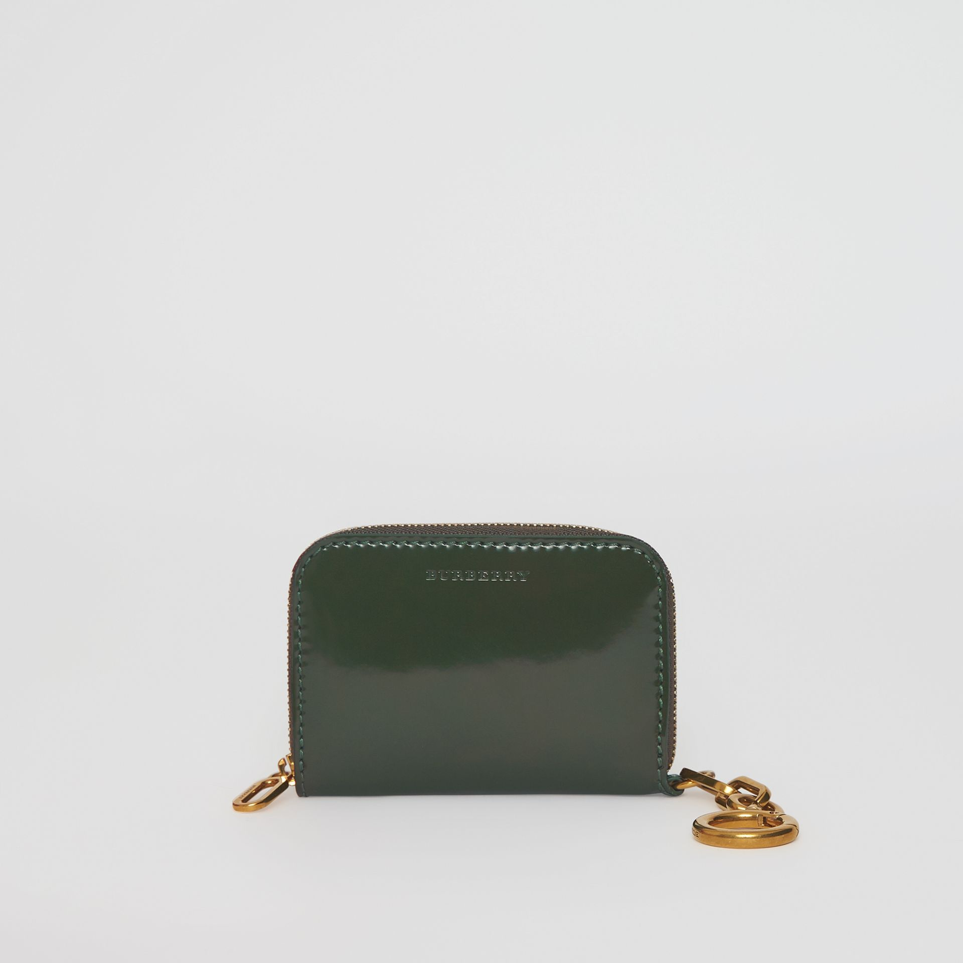 Link Detail Patent Leather Ziparound Wallet in Dark Forest Green - Women | Burberry - gallery image 0