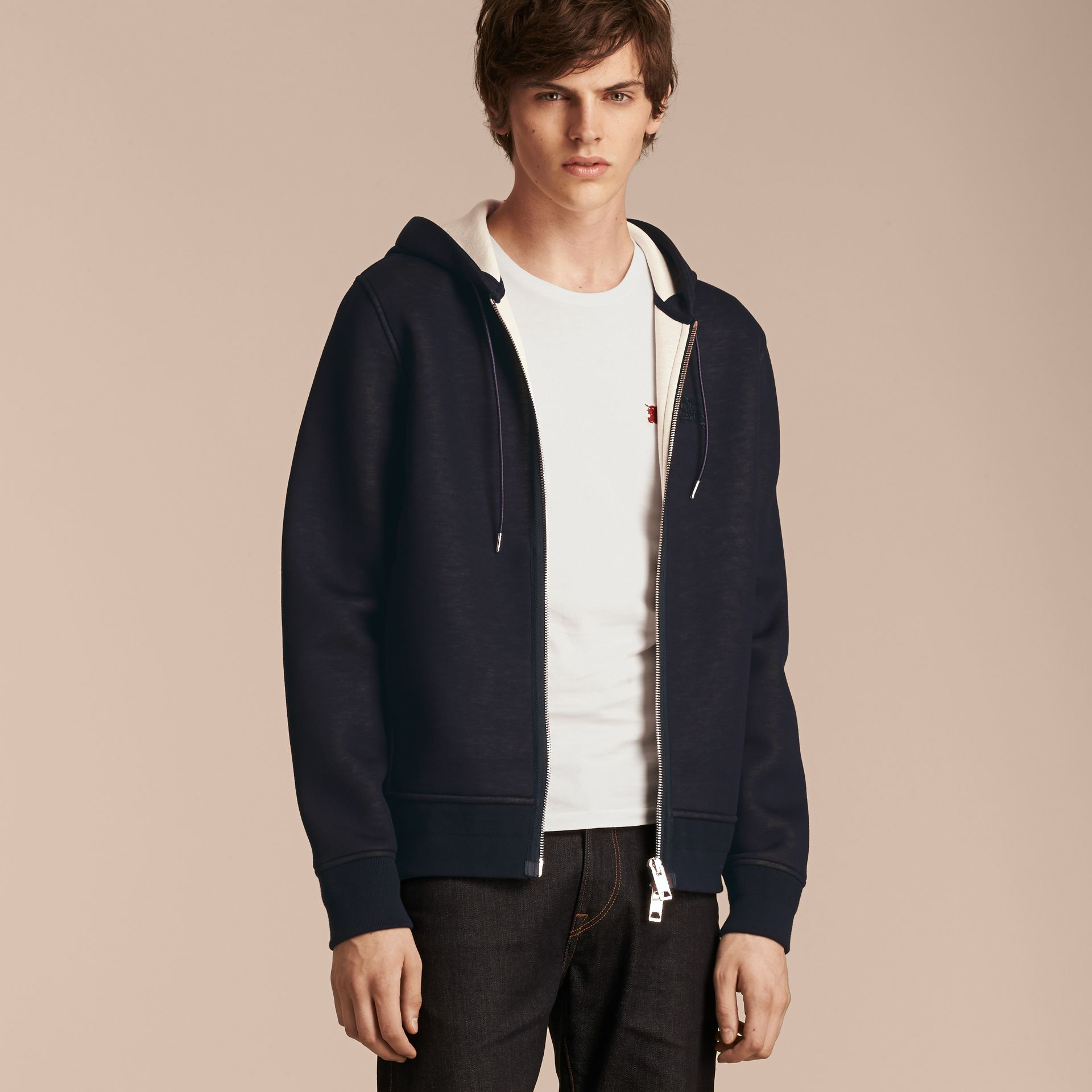 Two-tone Jersey Hooded Top Navy - gallery image 6
