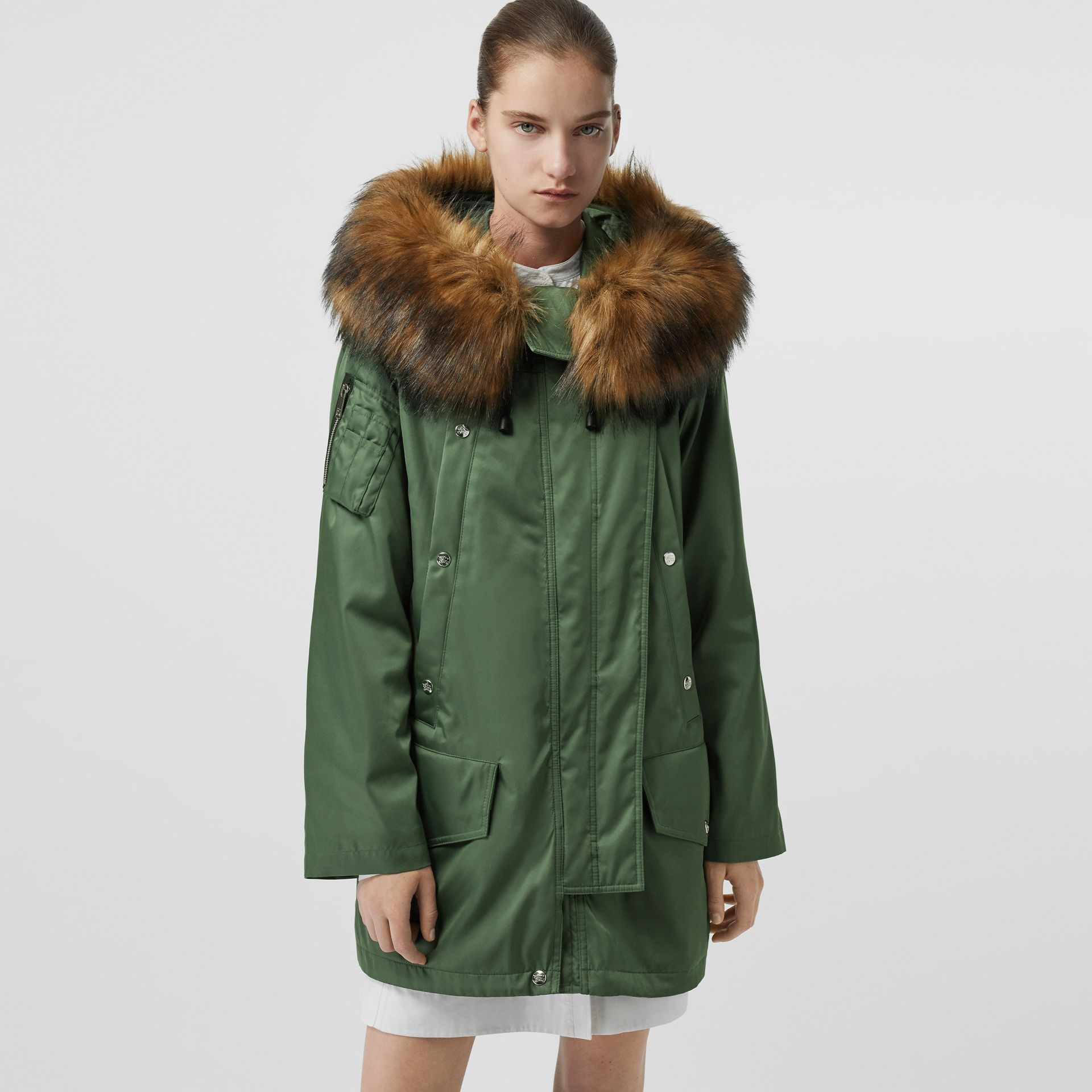 Faux Fur Trim Parka with Detachable Warmer in Grass Green - Women | Burberry - gallery image 4