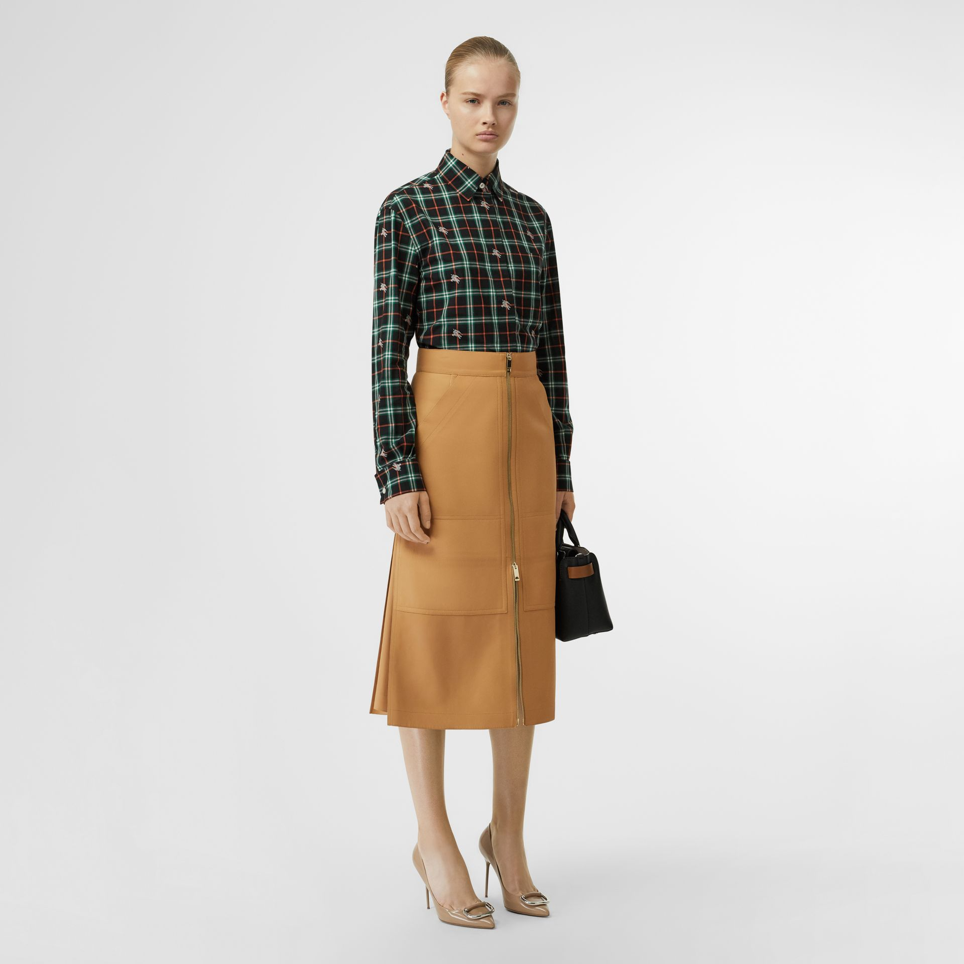 Fil Coupé Check Cotton Shirt in Ochre Orange - Women | Burberry - gallery image 0