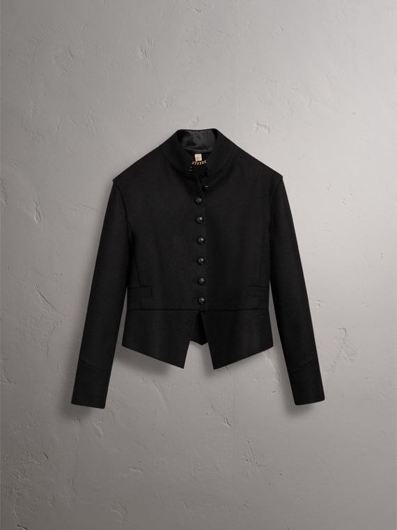 Wool Blend Military Jacket in Black - Women | Burberry United States - cell image 3