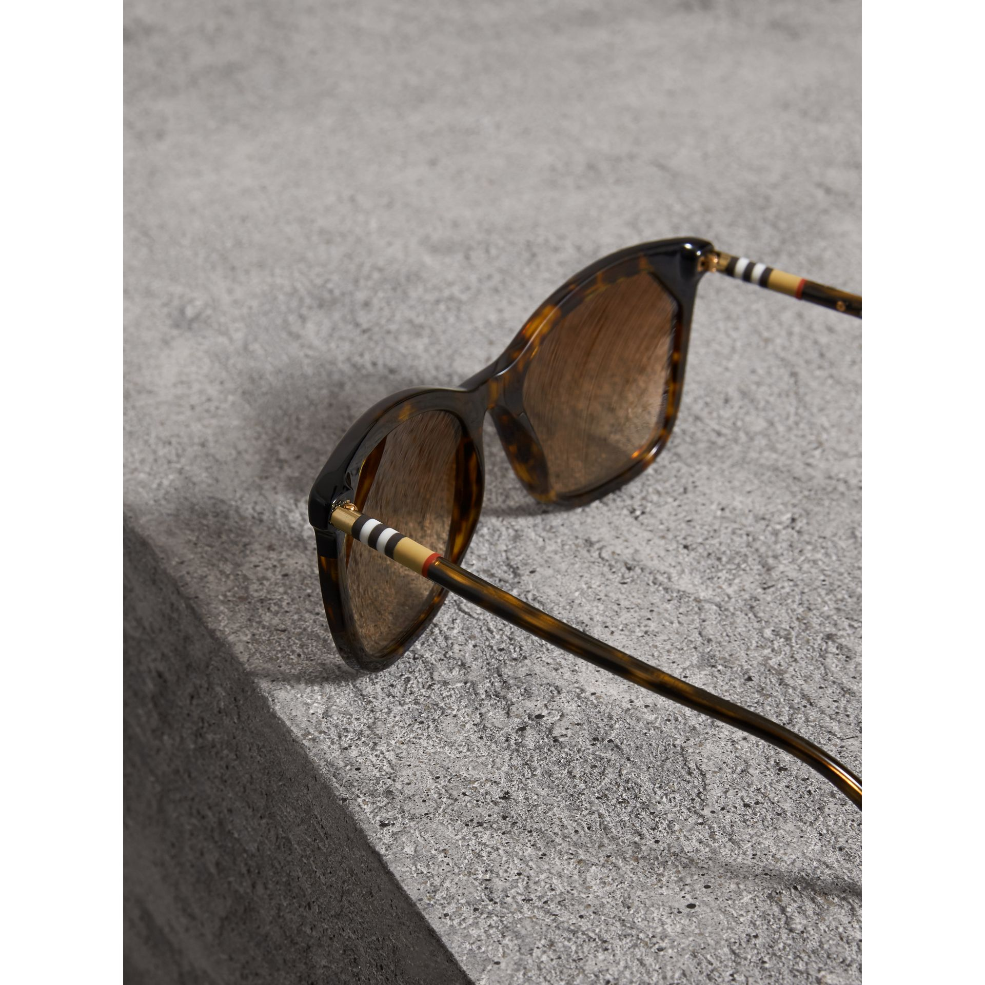 Tortoiseshell Square Frame Sunglasses in Brown - Women | Burberry - gallery image 1