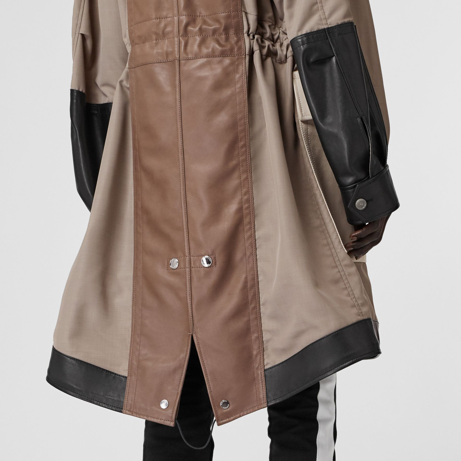 Leather Panelled Nylon Hooded Parka in Warm Taupe - Women | Burberry - gallery image 5