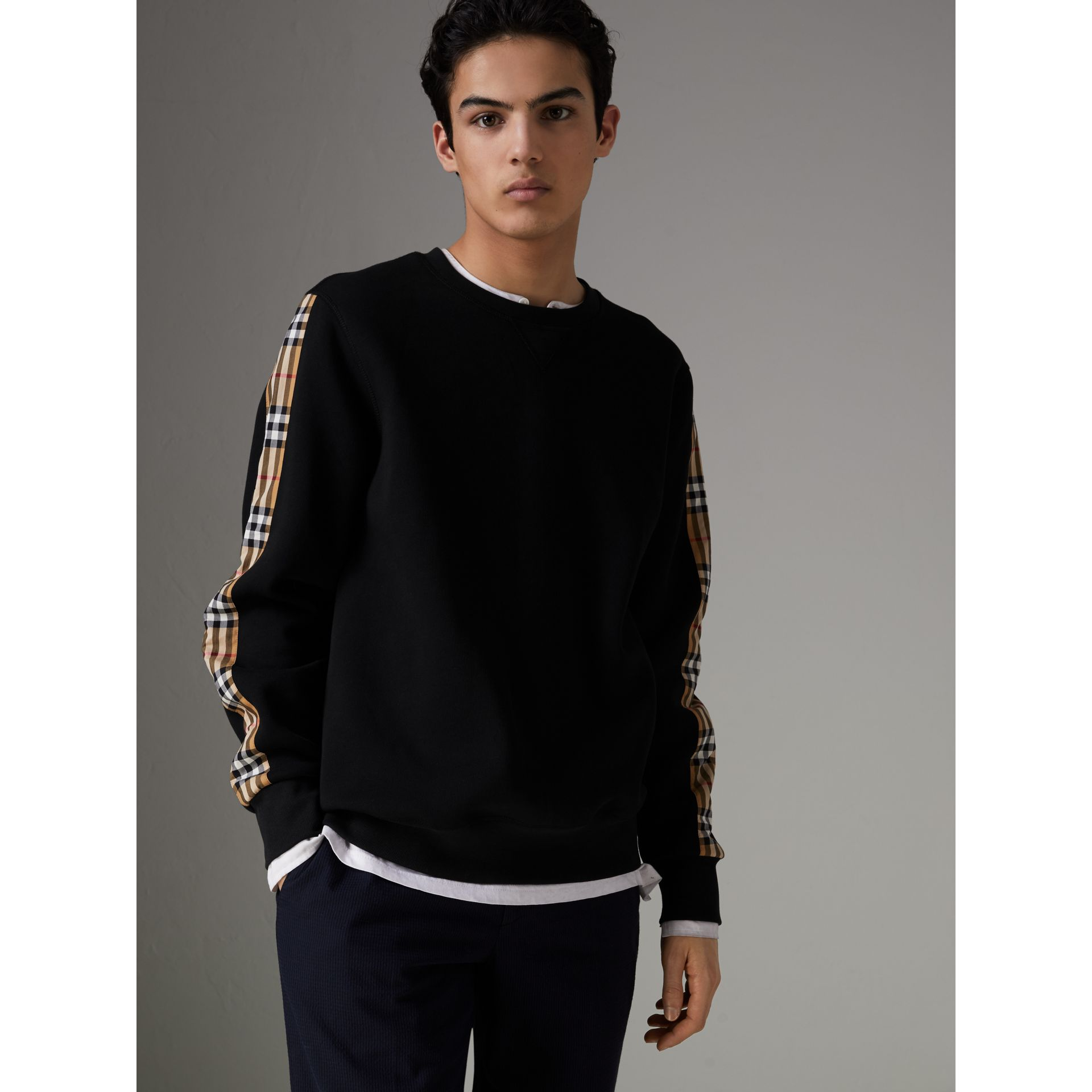 Vintage Check Detail Cotton Blend Sweatshirt in Black - Men | Burberry - gallery image 5