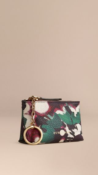 Floral Tie-dye Print Grainy Leather Coin Case