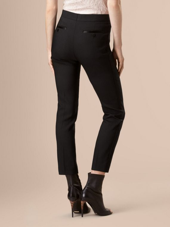 Black Slim Fit Tailored Tuxedo Trousers - cell image 3