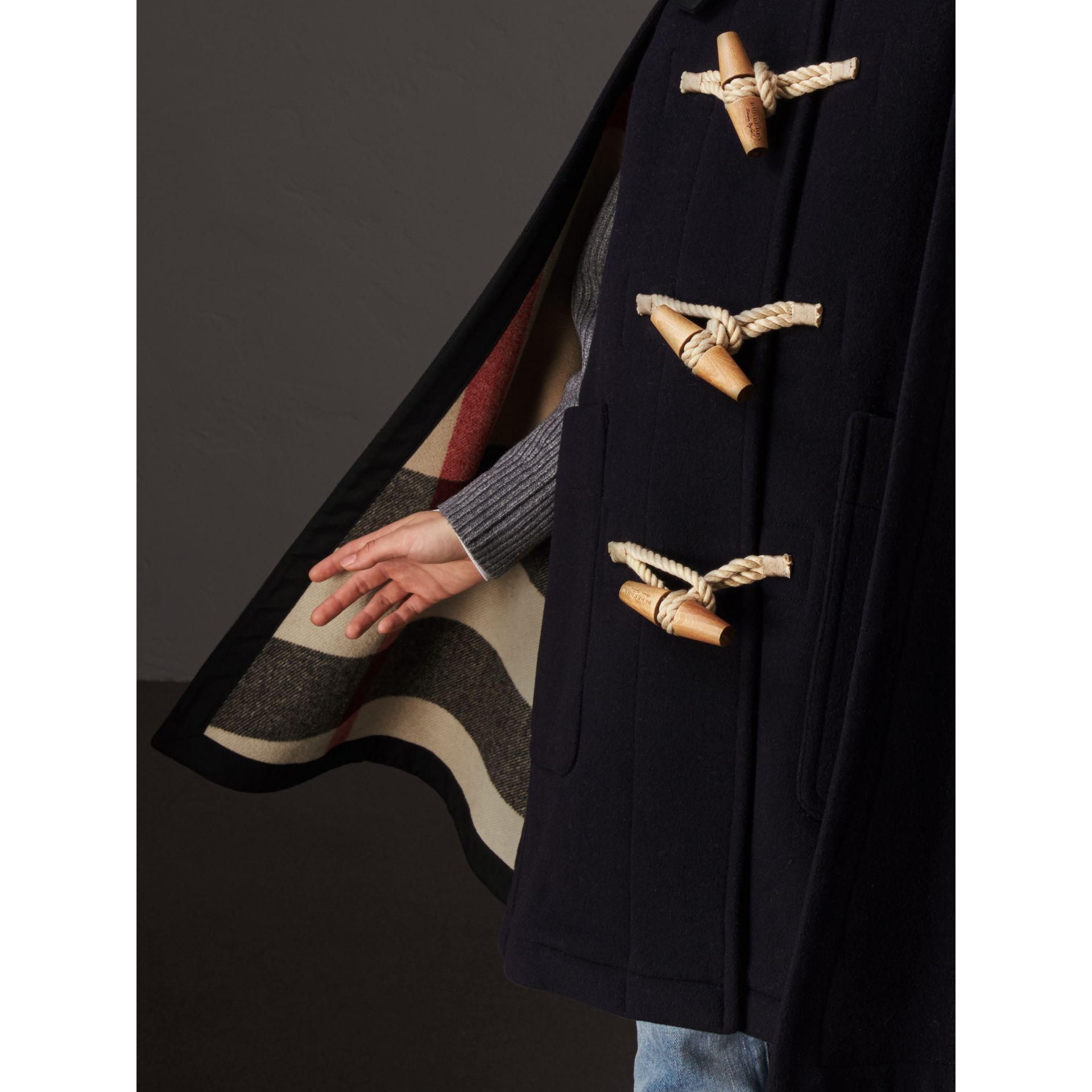 Double-faced Wool Blend Duffle Cape in Navy - Women | Burberry - gallery image 2