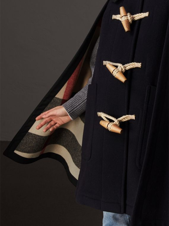 Double-faced Wool Blend Duffle Cape in Navy