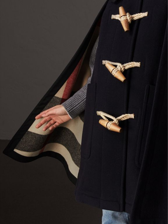 Double-faced Wool Blend Duffle Cape in Navy - Women | Burberry - cell image 1