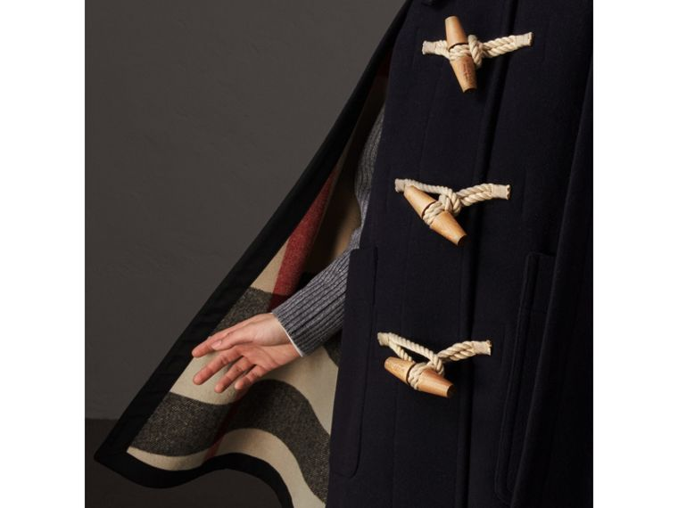 Double-faced Wool Blend Duffle Cape in Navy - Women | Burberry United Kingdom - cell image 1