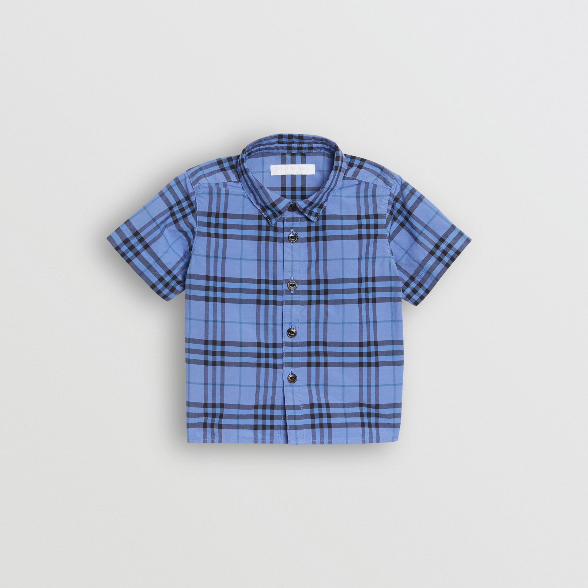 Short-sleeve Check Cotton Shirt in Dusty Blue - Children | Burberry United Kingdom - gallery image 0