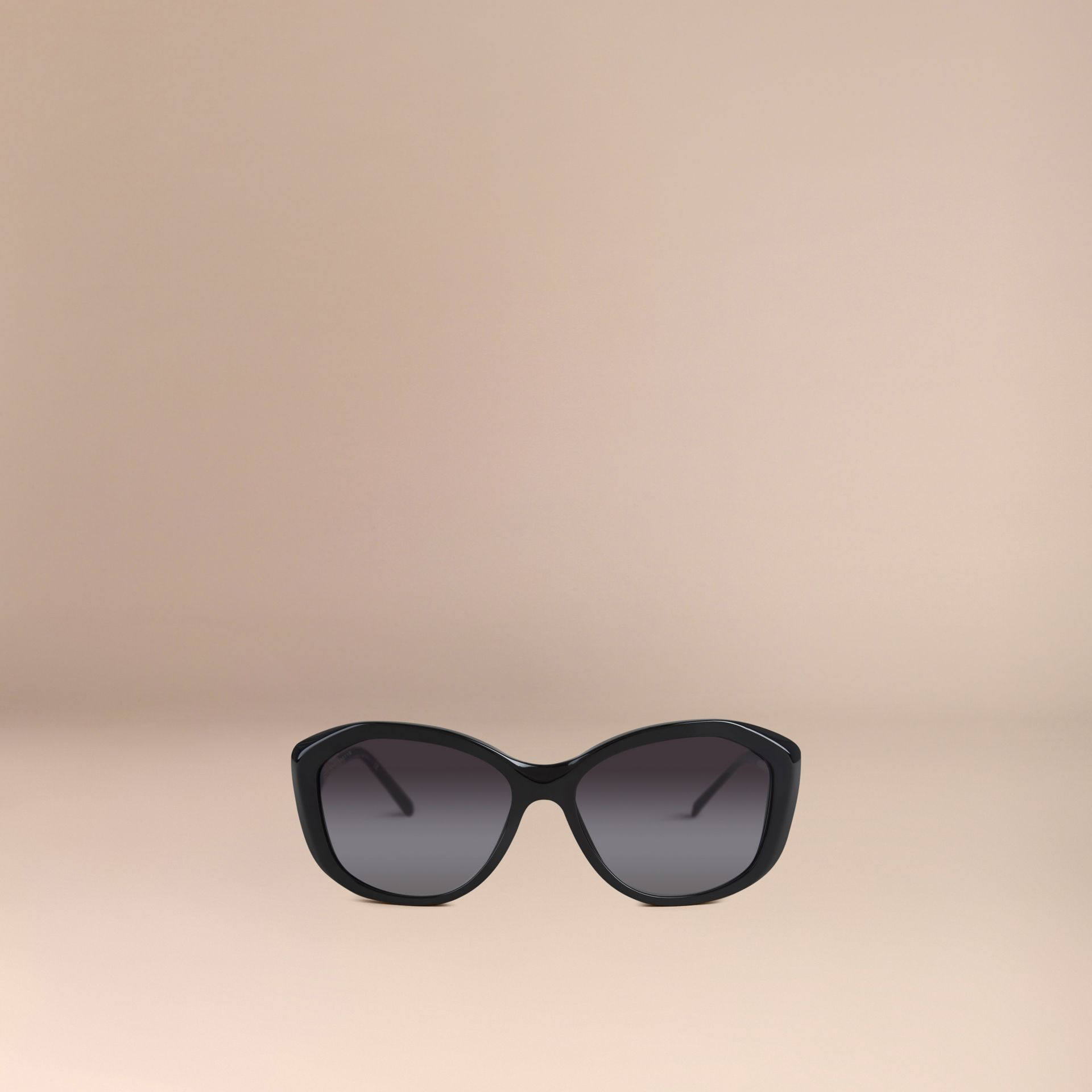 Black Gabardine Collection Square Frame Sunglasses Black - gallery image 2
