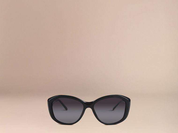 Black Gabardine Collection Square Frame Sunglasses Black - cell image 1
