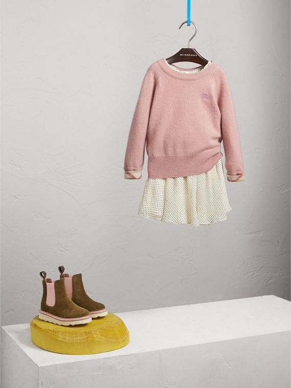 Check Cuff Cashmere Sweater in Dusty Pink