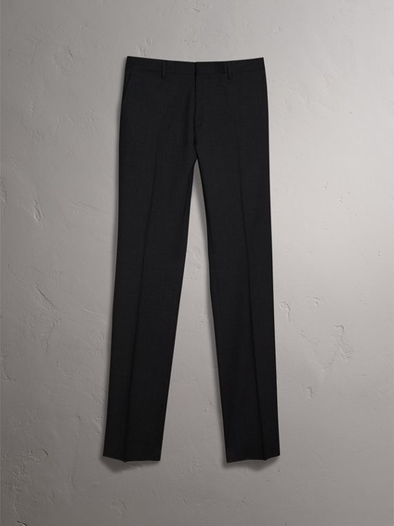 Modern Fit Wool Trousers in Charcoal - Men | Burberry - cell image 3