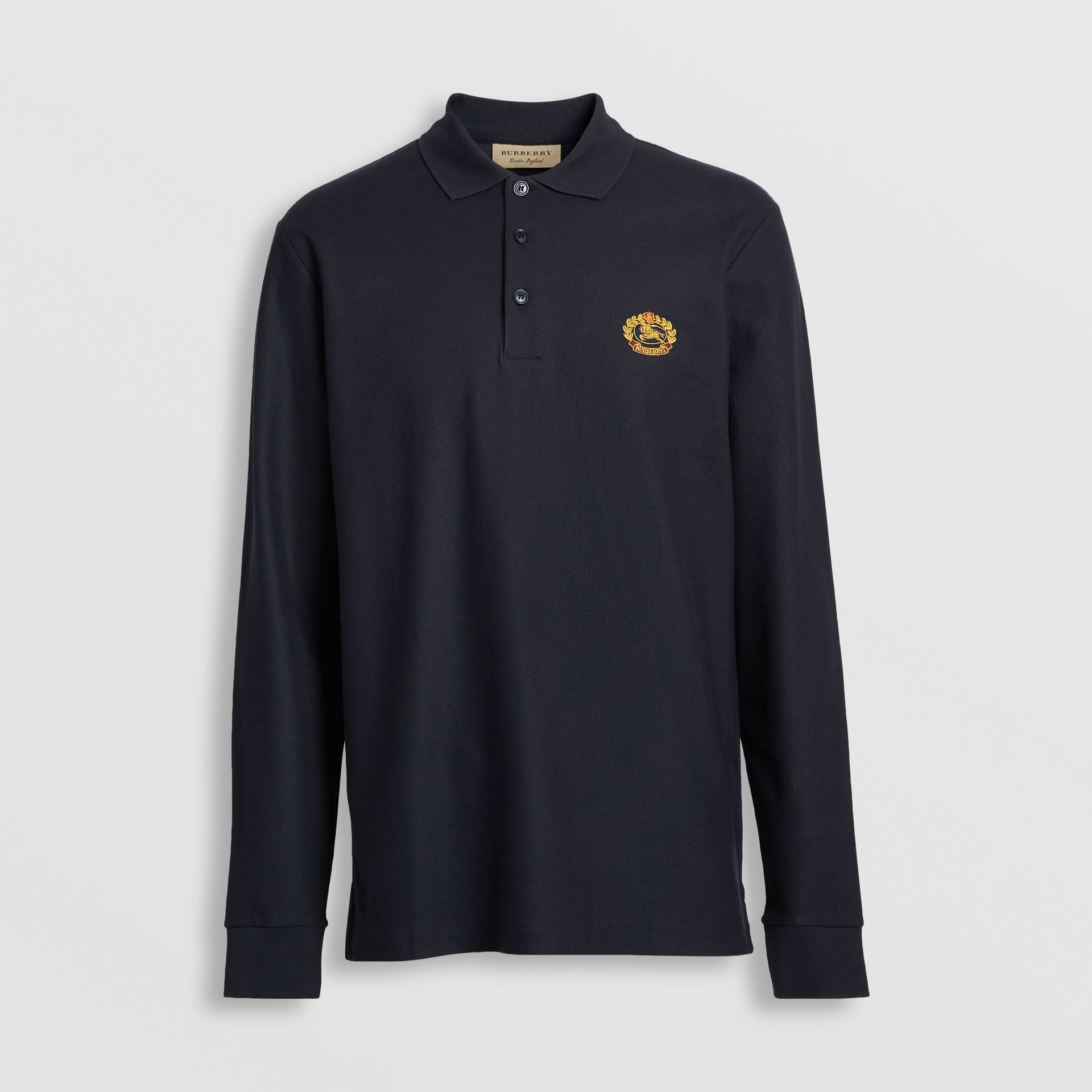 Long-sleeve Archive Logo Cotton Piqué Polo Shirt in Dark Navy - Men | Burberry Singapore - gallery image 3