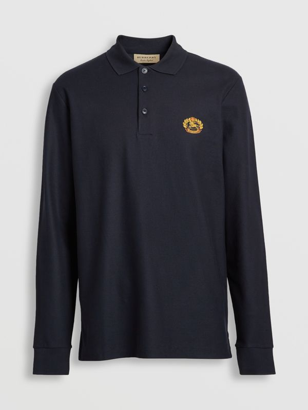 Long-sleeve Archive Logo Cotton Piqué Polo Shirt in Dark Navy - Men | Burberry - cell image 3