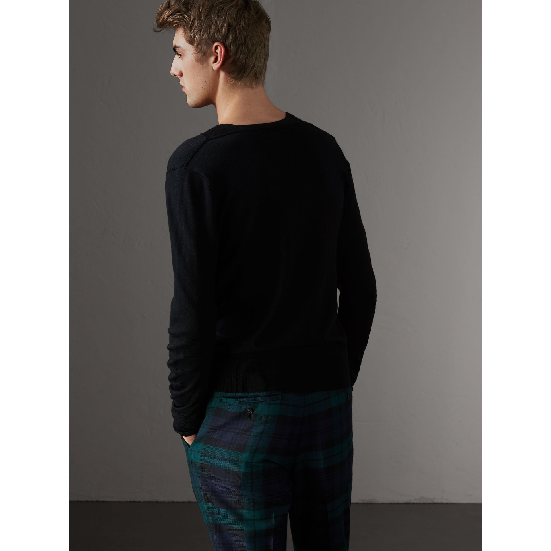 Check Detail Merino Wool V-neck Sweater in Black - Men | Burberry - gallery image 2