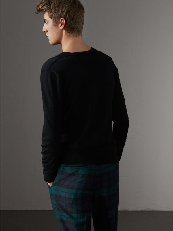 Check Detail Merino Wool V-neck Sweater in Black - Men | Burberry - cell image 2