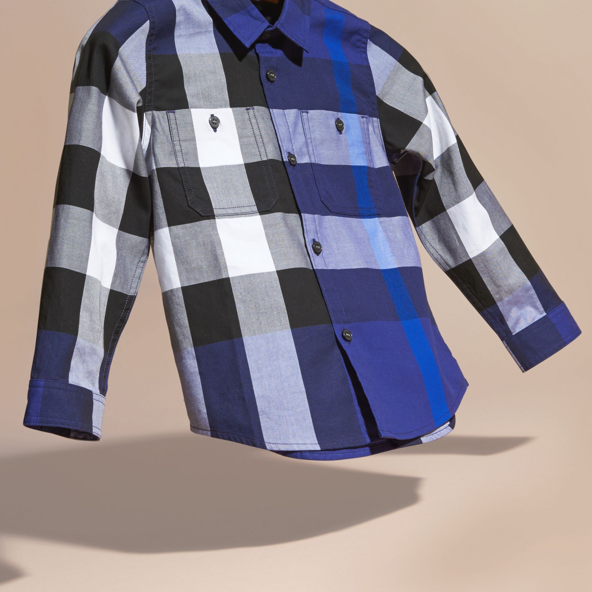 Bright navy blue Washed Check Cotton Shirt - gallery image 3