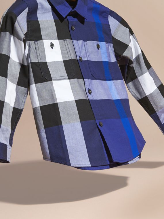 Bright navy blue Washed Check Cotton Shirt - cell image 2