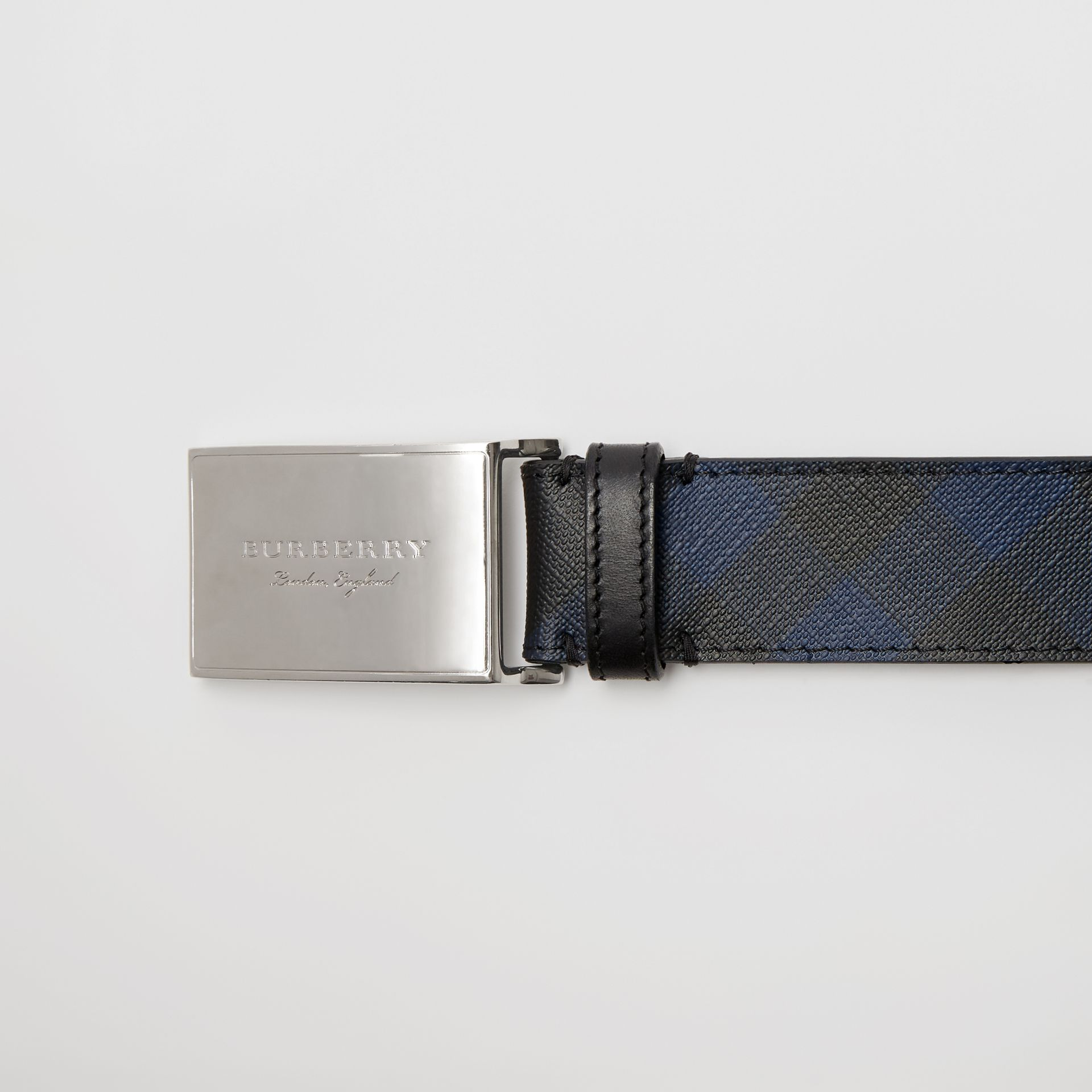 Plaque Buckle London Check and Leather Belt in Navy/black - Men | Burberry - gallery image 1