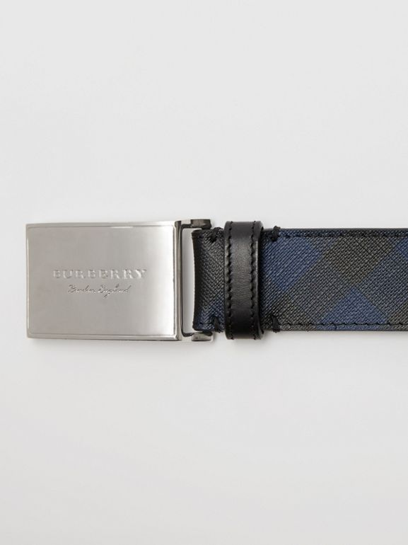 Plaque Buckle London Check and Leather Belt in Navy/black - Men | Burberry Singapore - cell image 1