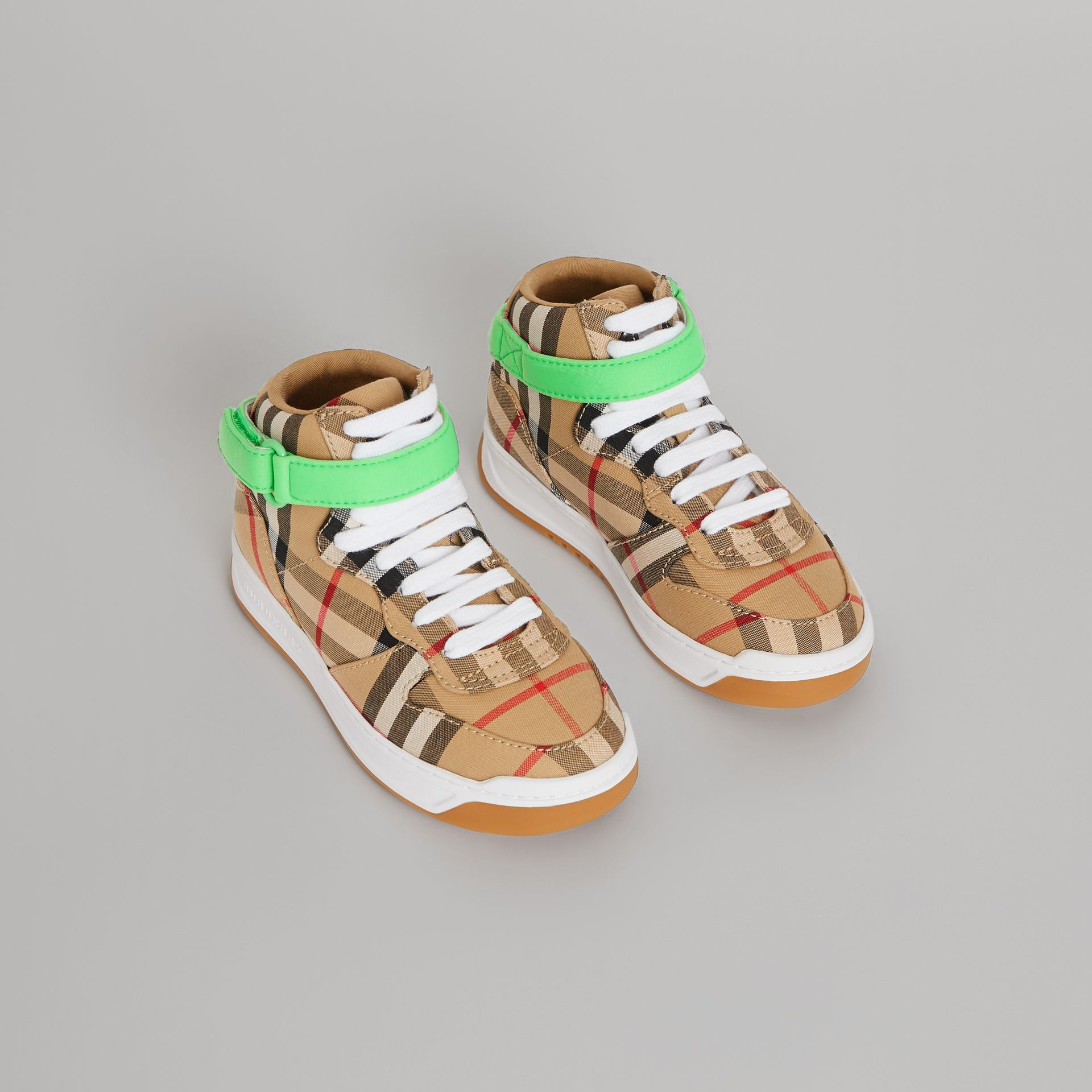 Vintage Check High-top Sneakers in Antique Yellow/neon Green | Burberry Singapore - gallery image 0