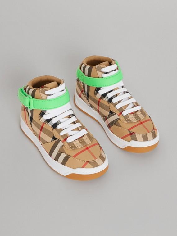 Vintage 格紋高筒運動鞋 (古典黃/霓虹綠)