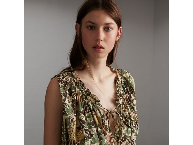 Sleeveless Beasts Print Lightweight Cotton Top - Women | Burberry - cell image 4